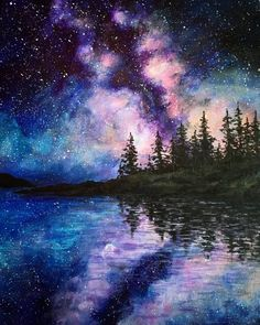 What is Your Painting Style? How do you find your own painting style? What is your painting style? Night Sky Painting, Lake Painting, Sillouette Painting, Body Painting, Galaxy Wallpaper, Nature Wallpaper, Wallpaper Backgrounds, Art Galaxie, Galaxy Painting Acrylic