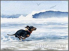 Dachshund Running on the Beach in the Water | Abstract Watercolor | Gi – The Smoothe Store