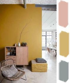 Whether you live in a large or a small space, colors are ideal for lighting up a room. It is precisely these that punctuate your decoration and your interior. To stylize a room, you opt for one or more colored walls. Decor, Yellow Walls, Yellow Interior, House Interior, Yellow Living Room, Room, Interior, Yellow Painted Walls, Mustard Walls