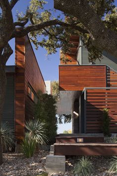 Redwood Siding Exterior Contemporary with Cantilever Deck Grasses Horizontal Slat Fence Metal Siding Outdoor