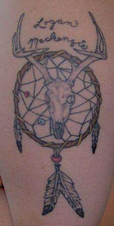 deer+skull+tattoo+pics | Dream Catcher and Deer Skull tattoo