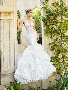 Moonlight Couture H1358a Y Unlined Drop Waist Mermaid Wedding Dress With Sheer Bodice And Ruffle Skirt