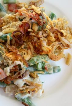 Gourmet Green Bean Casserole Recipe ~ A traditional green bean casserole gets a gourmet twist with the addition of a red bell pepper and grated Parmesan cheese... crunchy and creamy, cheesy goodness all at once!