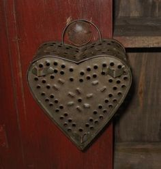 antique punched tin heart cheese mold