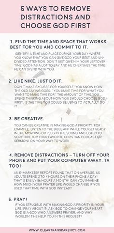 Five (5) Ways to Remove Distractions and Choose God First