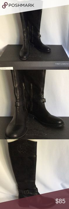 """Vince Camino VC Flavian tall riding boots All leather, zipper on side, leather embossed wrap around buckle, stacked 1 1/4"""" heel, these boots are in excellent condition, with box Vince Camuto Shoes Heeled Boots"""