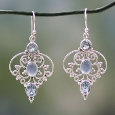Sterling Silver 'Blue Arabesque' Topaz Chalcedony Earrings (India) - 16985622 - Overstock Shopping - Great Deals on Novica Earrings