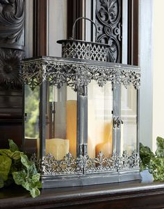 Check out the deal on Filigree Lantern 14 Wide x 15 Tall Metal And Glass - Antique Grey at Battery Operated Candles