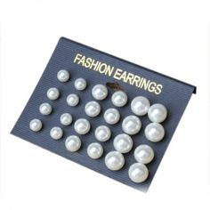 White Pearl Studs Earrings Cruncher Designs Fashion 12 Pairs