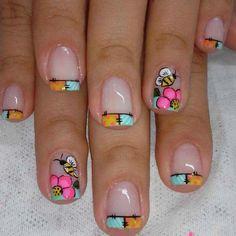 french nails ideas Tips Summer Acrylic Nails, Summer Nails, Spring Nails, Nail Polish Designs, Nail Art Designs, Love Nails, Fun Nails, Nail Art For Girls, Square Nail Designs