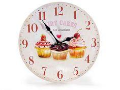 """OROLOGIO IN LEGNO DA PARETE """"FAIRY CAKES"""" #cupcake #cupcakes #orologio #legno #appendere #cucina #decoro #decorazione #decor #arredamento #arredo #arredare #casa #home #homedecor #torta  www.dolci-idee.it"""