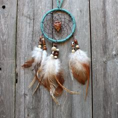Car Dream Catcher Arrowhead Teal Beaded by VagaBoundPeople
