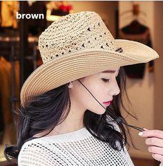 Summer hollow straw cowboy hat for girls beach sun hats package