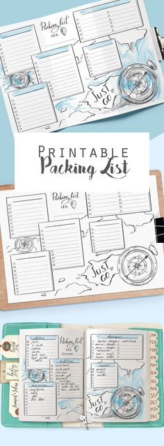 #Printable #travelpackinglist for #planner and #traveljournal #Holiday #vacationchecklist #PDF #insertpage #Packingplanner #Travelchecklist