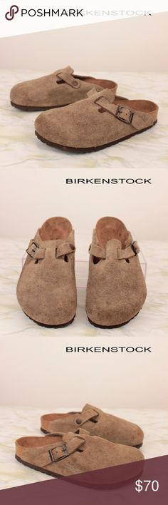 Boston Clogs Soft Footbed Tan Taupe Suede S32 EUC BIRKENSTOCK SOFT FOOTBED BOSTON TAN BRN TAUPE SUEDE LEATHER CLOGS SHOES WOMENS  SIZE: 5 CONDITION: MINT – Excellent Pre-Owned Condition - Gently Worn - Smoke and pet free environment CSKU: S32; 6 Birkenstock Shoes Mules & Clogs