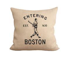 Entering Boston burlap pillow