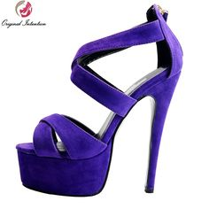 62.09$  Buy now - http://aliphq.shopchina.info/go.php?t=32597244341 - Original Intention Women Sandals Flock Platform Open Toe Spike Heels Sandals Plus US Size 4-15 Purple Shoes Woman  #SHOPPING