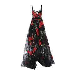 Marchesa High Low Floral Embroidered Gown ($7,995) ❤ liked on Polyvore featuring dresses, gowns, black and marchesa