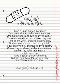 Shel Silverstein printable Band-Aids poem...