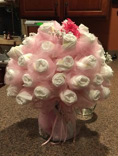 The diaper bouquet I made.  First one.