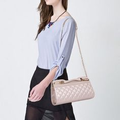 lattice chain Stunning Lattice Pattern Solid Color Chain Shoulder Bag For Women