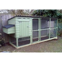 Chicken House, Hen Coop with Covered Walk in Chicken Run