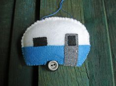 Hand-Stitched Felt Teardrop Trailer Ornament - Folk Art - Christmas