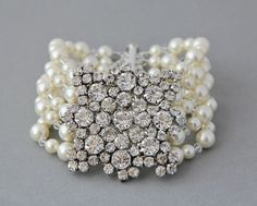 Bridal bracelet. Vintage style bridal crystal pearl wedding cuff brooch bracelet, wedding jewelry , pearl vintage bracelet- Style 352