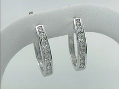1 Ct Diamon Hoop Earrings 14 kt White Gold #Hoop