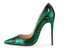 Christian Louboutin So Kate Marbled Red Sole Pump, Green/Black Cute Shoes, Me Too Shoes, Shoes 2016, Christian Louboutin So Kate, Red Sole, Kinds Of Shoes, Patent Leather Pumps, Louboutin Shoes, Pumps Heels