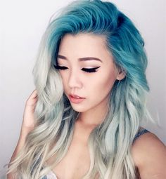 Amazing icy blue ombre mermaid hair style, DIY dyed by @estherryi_