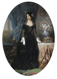 """JEAN-CHARLES OLIVIER ; PORTRAIT OF MARIE DUPLESSIS, """"LA DAME AUX CAMÉLIAS"""" ; SIGNED LOWER LEFT ; GOUACHE AND WATERCOLOR ON PAPER, OVAL"""