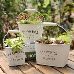 "Vintage ""Flowers & Garden"" White Tabletop Metal Flower Pot - All About Garden Table, Balcony Garden, Garden Pots, Metal Flowers, Vintage Flowers, Tabletop, White Table Top, Hanging Pots, Wooden Garden"