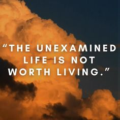 """The unexamined life is not worth living."" #quotes #quoteoftheday #quotestoliveby #quotesaboutlife #lifequote #living"