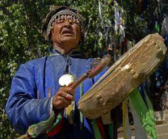 Tuvan Kam(Shaman) praying and drumming.
