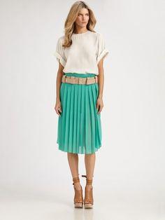 Chloé Green Pleated Silk Skirt