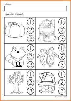 Kindergarten Worksheets About Syllables