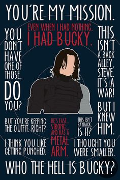 The Winter Soldier / Bucky Barnes poster by MacGuffin Designs http://www.etsy.com/uk/listing/199904897/the-winter-soldier-bucky-barnes-poster http://society6.com/britishindie/the-winter-soldier-taw_print