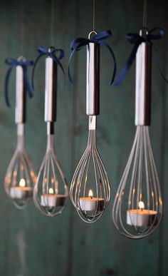 Beautiful DIY Tea Candle Whisk Lantern