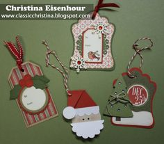 Christmas tags made with my Cricut Cartridges
