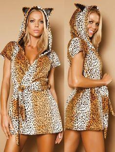 Amazon.com: Gold Cheetah Print Fur Robe - ONE SIZE: Clothing