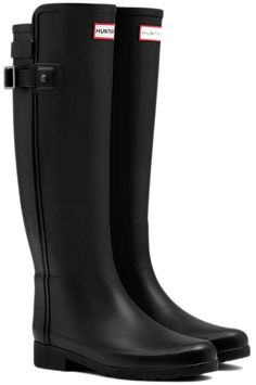 i want a rain boot so bad. maybe next year they can buy me one. hoepefully.     Hunter Original Refined Back Strap Rain Boots - • Occasionally white marks may appear on the boots as they are made from natural rubber• Restore shine with Hunter Boot Buffer and Boot Shine• It is not recommended to wear boots in freezing temperatures as rubber may crack