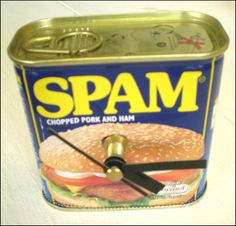 Spam Recycled Tin Can Clock £7.00 on #folksy