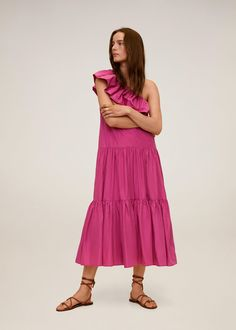 Rochie asimetrică cu volan - Femei | Mango România Asymmetrical Design, Ruffle Dress, No Frills, Midi Skirt, Mango, Style Inspiration, Summer Dresses, Outfits, Products