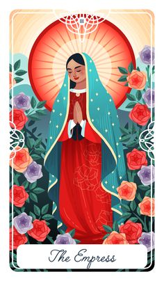 The Empress card is representative of the Mother figure, of bounty, fertility, and the earth. She is a mothers strength and unconditional love. She is about life, but she is also about stagnation, staying in your mothers embrace.  This is Our Lady of Guadalupe, the Virgin Mary specific to Mexico. She first appeared outside of Mexico City in 1531, speaking the native Nahuatl language, and began performing miracles. She appears of mixed decent, Indigenous people and Spaniard, and is thus a…