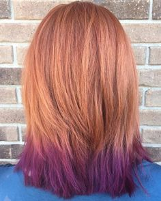 light copper hair with purple dip dye...close to what im sayin