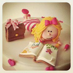 Reader girl cake topper