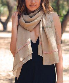 Look at this #zulilyfind! Khaki Lace-Stripe Scarf #zulilyfinds