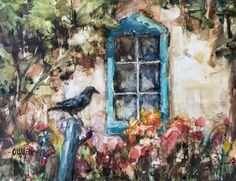 Waiting - watercolor on Yupo Original art painting by Julie Ford Oliver - DailyPainters.com