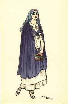An illustration of a French Red Cross nurse portrayed as comforting beauty with flowers in her hands, ca. Pictures of Nursing: The Zwerdling Postcard Collection. National Library of Medicine Vintage Nurse, Vintage Love, Nurse Art, Suffragette, Red Cross, Fashion Plates, Vintage Pictures, Nurse Stuff, Lady